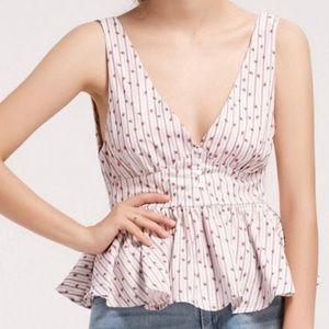 Zara trafaluc striped floral peplum top